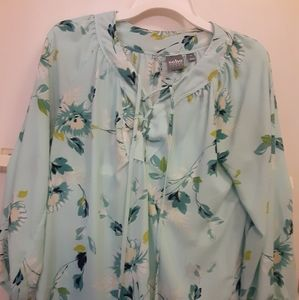 Teal flowered blouse